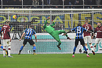 9th February 2020, Milan, Italy; Serie A football, AC Milan versus Inter-Milan; The goal scored by Stefan de Vrij of Inter for 3-2 in the 70th minute