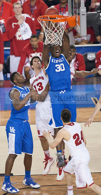 Kentucky Wildcats forward Julius Randle (30) dunks the ball during the NCAA Final Four vs. Wisconsin at the AT&T in Arlington, Tx., on Saturday, April 5, 2014. Photo by Eleanor Hasken   Staff