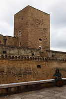 A smiling woman who sits on the edge of the external wall that surrounds the moat of the Normanno-Svevo (Swabian) castle, near the old town, in Bari, under a cloudy sky. A part of the castle itself, with one of its characteristic towers, is on the background. The woman's colorful clothes enhance the beautiful seriousness of the ancient building. Digitally Improved Photo.