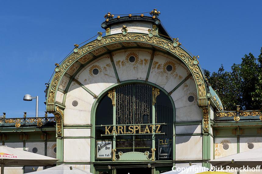 Jugendstil Pavillon der Stadtbahn am Karlsplatz, Wien, &Ouml;sterreich, UNESCO-Weltkulturerbe<br /> Art Nouveaux Pavilion of city train, Vienna, Austria, world heritage