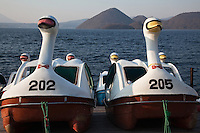 Toya Lake Swan Boats - part of the Shikotsu Toya National Park. In addition to the lake itself Toya region features hot springs and an active volcano Mount Usu, which last erupted in the year 2000. The area also offers many fishing and hiking opportunities.
