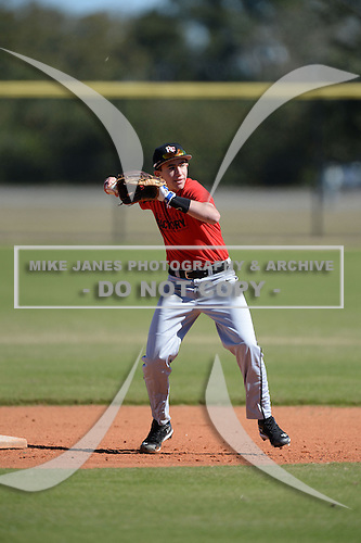 Conner Cahill (25) of Overland Park, Kansas participates in the Baseball Factory All-America Pre-Season Rookie Tournament, powered by Under Armour, at Lake Myrtle Sports Complex on January 18, 2014 in Auburndale, Florida.  (Copyright Mike Janes Photography)