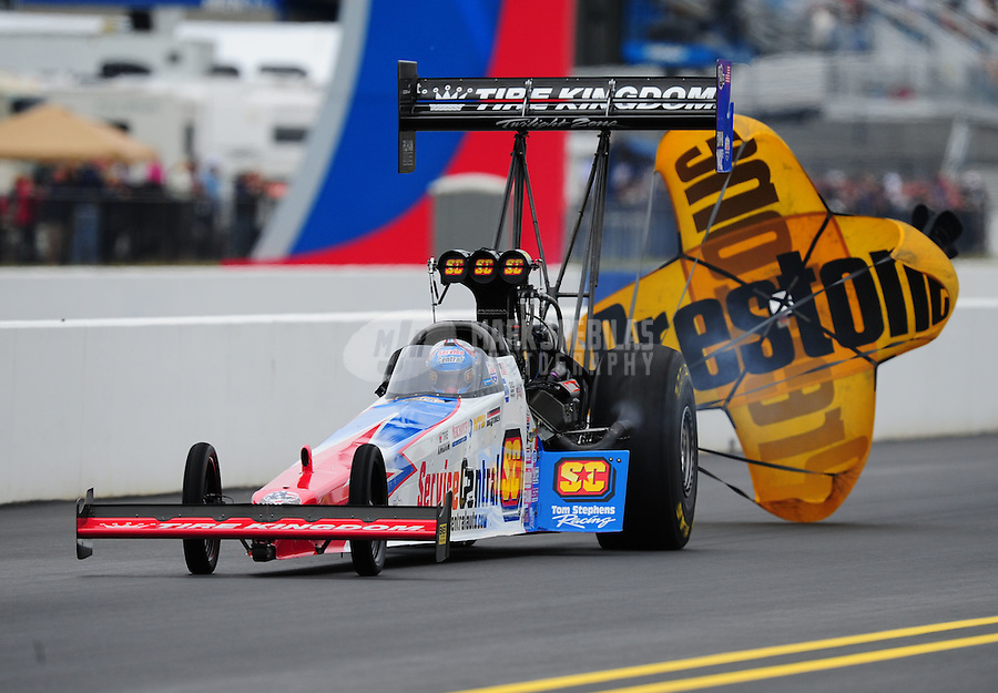 Sept. 17, 2011; Concord, NC, USA: NHRA top fuel dragster driver Dom Lagana during qualifying for the O'Reilly Auto Parts Nationals at zMax Dragway. Mandatory Credit: Mark J. Rebilas-