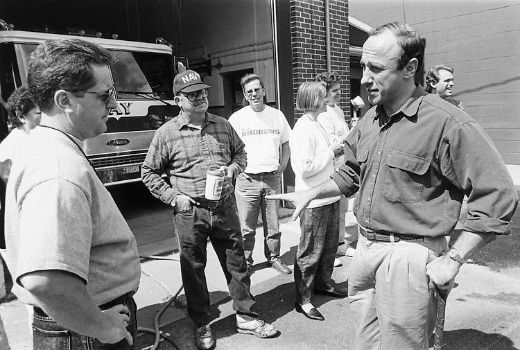 Rep. Thomas Andrews, D-Maine campaigning at Jay Fire Department. Veterans of Foreign Wars ladies auxiliary was sponsoring a car wash on September, 1994. (Photo by Maureen Keating/CQ Roll Call)