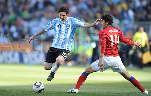 17 06 2010   Johannesburg  Argentina s Lionel Messi lshoots during A 2010 World Cup Group B Match between Argentina and South Korea AT The Soccer City stadium in Soweto Suburban Johannesburg South Africa O. The game ended with Argentina winning 4-1.
