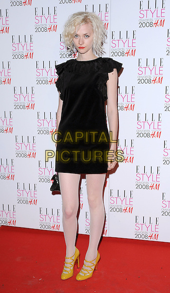 PORTIA FREEMAN.attending the Elle Style Awards 2008, The Westway, London, England,.12th February 2008..full length black dress white tights yellow shoes.CAP/BEL.?Tom Belcher/Capital Pictures