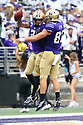 SEATTLE, WA - SEPTEMBER 14: Washington's (2) Aaron Fuller (WR) And (87) Cade Otton (TE) celebrate a touchdown in the end zone during the college football game between the Washington Huskies and the Hawaii Rainbow Warriors on September 14, 2019 at Husky Stadium in Seattle, WA.Jesse Beals / www.Olympicphotogroup.com