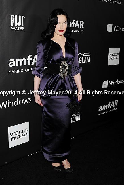 HOLLYWOOD, CA- OCTOBER 29: Model Dita Von Teese attends amfAR LA Inspiration Gala honoring Tom Ford at Milk Studios on October 29, 2014 in Hollywood, California.