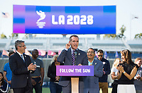 Carson, CA - July 31, 2017: The USWNT attends a press conference at StubHub Center for the announcement 2028 Olympics in Los Angeles.