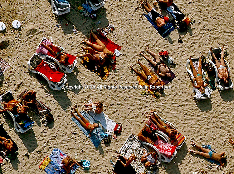 Aerial view of Nude beach in Ibiza Spain Aerial views of artistic patterns in the earth.