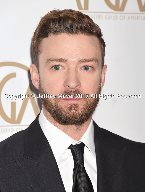 HOLLYWOOD, CA - JANUARY 28: Singer-songwriter-actor-record producer Justin Timberlake arrives at the 28th Annual Producers Guild Awards at The Beverly Hilton Hotel on January 28, 2017 in Beverly Hills, California.