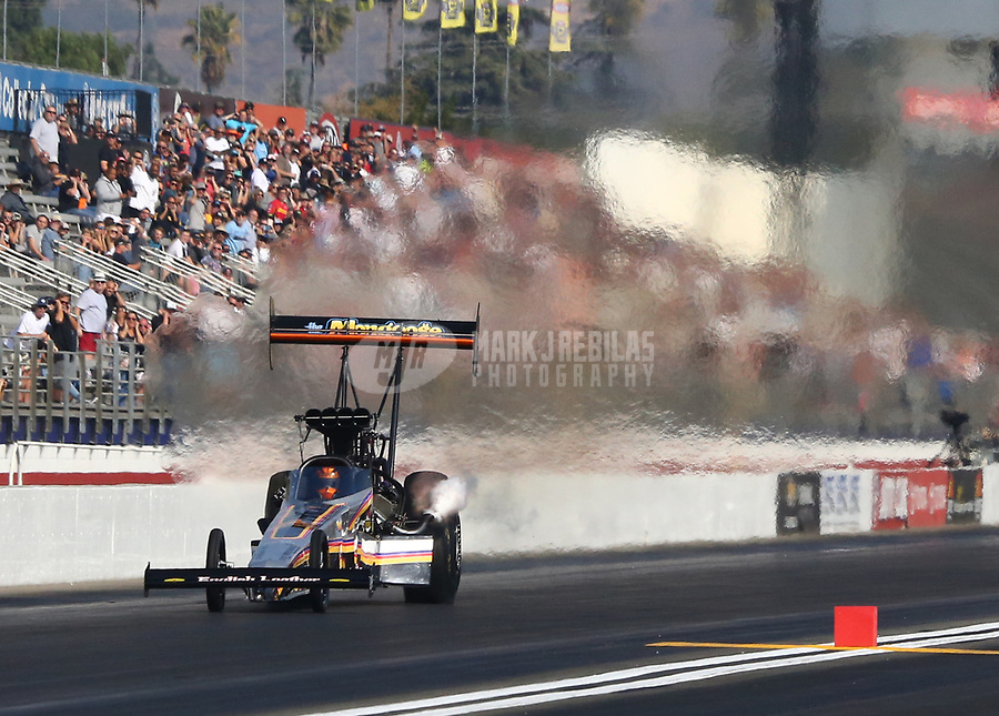 Nov 11, 2018; Pomona, CA, USA; NHRA top fuel driver Mike Salinas during the Auto Club Finals at Auto Club Raceway. Mandatory Credit: Mark J. Rebilas-USA TODAY Sports