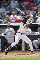 Michigan Wolverines outfielder Christian Bullock (5) at bat during Game 1 of the NCAA College World Series against the Texas Tech Red Raiders on June 15, 2019 at TD Ameritrade Park in Omaha, Nebraska. Michigan defeated Texas Tech 5-3. (Andrew Woolley/Four Seam Images)