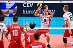 13.09.2019, Paleis 12, BrŸssel / Bruessel<br />Volleyball, Europameisterschaft, Belgien (BEL) vs. …sterreich / Oesterreich (AUT)<br /><br />Annahme Anton Menner (#6 AUT)<br /><br />  Foto © nordphoto / Kurth
