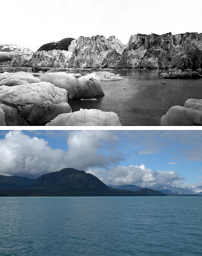 Repeat photo pair of Muir glacier in Glacier Bay National Park in Alaska, USA.  The black and white top image of the calving face of Muir Glacier was taken in 1899 by G.K. Gilbert of the United States Geological Survey on the Harriman Expedition.  The color  bottom image depicting the current ice-free conditions of Muir Inlet was taken by Ron Karpilo in 2003.