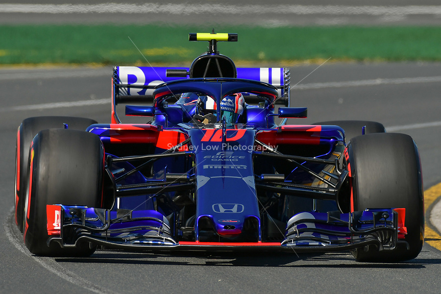 March 23, 2018: Pierre Gasly (FRA) #10 from the Red Bull Toro Rosso Honda team during practice session one at the 2018 Australian Formula One Grand Prix at Albert Park, Melbourne, Australia. Photo Sydney Low