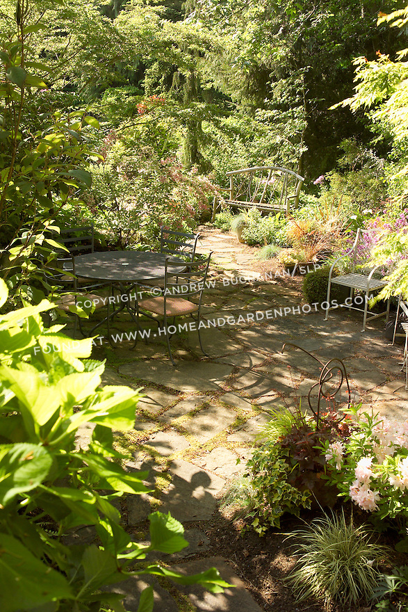 in the dappled summer sunshine, metal patio chairs sit on a small residential, backard patio with a twig garden bench beyond, surrounded by lush woodland gardens