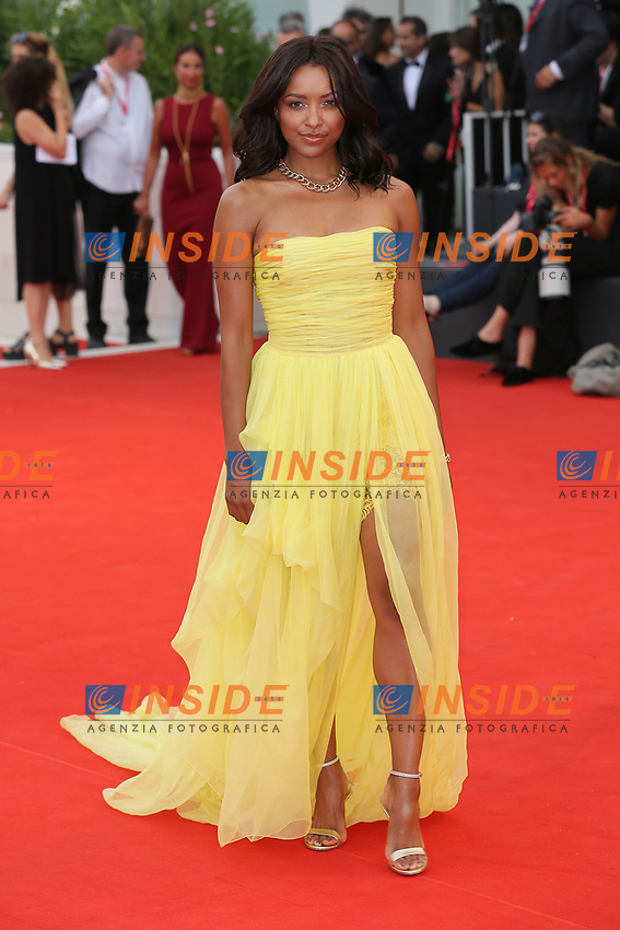 """VENICE, ITALY - AUGUST 28:  Kat Graham walks the red carpet ahead of the Opening Ceremony and the """"La Verite"""" (The Truth) screening during the 76th Venice Film Festival at Sala Grande on August 28, 2019 in Venice, Italy., 2019 in Venice, Italy. (Photo by Marck Cape/Inside Foto)<br /> Venezia 28/08/2019"""