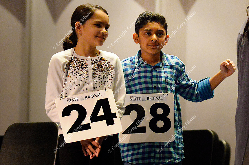 at the 2018 Badger State Spelling Bee on Saturday, 3/24/18, at MATC's Mitby Theater in Madison, Wisconsin