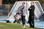 03 November 2013: Boston College head coach Alison Foley (left) with assistant coach Mark McDevitt (right). The University of North Carolina Tar Heels hosted the Boston College Eagles at Fetzer Field in Chapel Hill, NC in a 2013 NCAA Division I Women's Soccer match and the quarterfinals of the Atlantic Coast Conference tournament. North Carolina won the game 1-0.