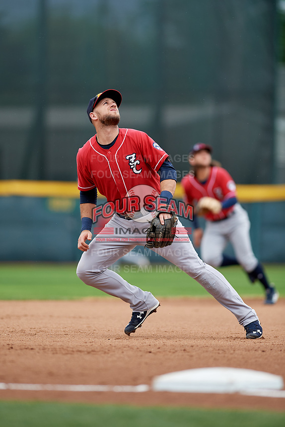 New Hampshire Fisher Cats third baseman Gunnar Heidt (4) tracks a pop up during a game against the Erie SeaWolves on June 20, 2018 at UPMC Park in Erie, Pennsylvania.  New Hampshire defeated Erie 10-9.  (Mike Janes/Four Seam Images)