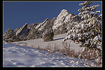 Flatirons rock formation at Chautauqua Park, Boulder Valley, Colorado.<br /> Outside Imagery photo tours and snowshoe hikes in the Boulder vicinity. Rocky Mountain National Park tours.
