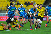 Hurricanes' Du'Plessis Kirifi tries to stop Blues' Mark Telea during the Super Rugby Aotearoa match between the Hurricanes and Blues at Sky Stadium in Wellington, New Zealand on Saturday, 18 July 2020. Photo: Dave Lintott / lintottphoto.co.nz