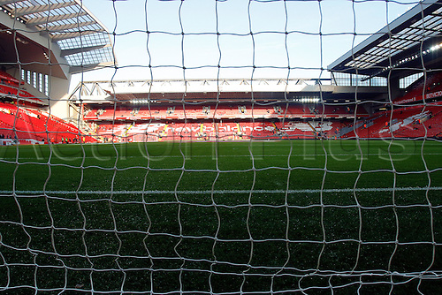 26.11.2016. Anfield, Liverpool, England. Premier League Football. Liverpool versus Sunderland. A general view inside the stadium through the goal net