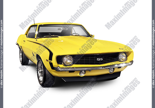 Yellow 1969 Chevrolet Camaro SS classic retro sports car muscle car Isolated with clipping path on white background