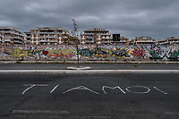 Roma 27 Ottobre, 2017. Scritte sui muri di Ostia<br /> Graffiti on the walls at Ostia beach