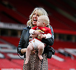 Lisa Carrick wife of Michael Carrick of Manchester United with child during the English Premier League match at the Old Trafford Stadium, Manchester. Picture date: May 21st 2017. Pic credit should read: Simon Bellis/Sportimage