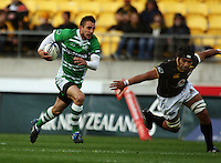 Manawatu's Andre Taylor steps inside Victor Vito. Air NZ Cup - Wellington Lions v Manawatu Turbos at Westpac Stadium, Wellington, New Zealand. Saturday 3 October 2009. Photo: Dave Lintott / lintottphoto.co.nz