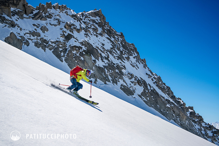 Skiing spring snow while on the Berner Haute Route, Switzerland