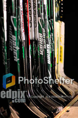 10 January 2009: Hockey sticks are ready for a game between the University of Vermont Catamounts and the Boston College Eagles for the second game of a weekend series at Gutterson Fieldhouse in Burlington, Vermont. The Catamounts rallied from an early 2-0 deficit to defeat the visiting Eagles 4-2. Mandatory Photo Credit: Ed Wolfstein Photo
