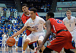 January 11, 2017:  Air Force forward, Hayden Graham #35, battles a Bulldog double team, during the NCAA basketball game between the Fresno State Bulldogs and the Air Force Academy Falcons, Clune Arena, U.S. Air Force Academy, Colorado Springs, Colorado.  Air Force defeats Fresno State 81-72.