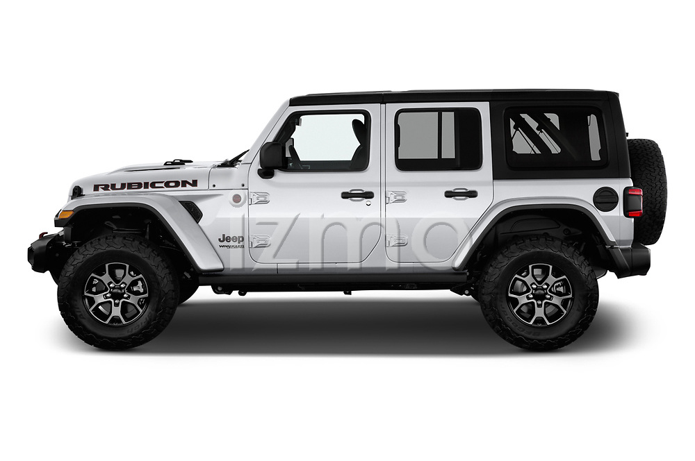 Car driver side profile view of a 2018 Jeep Wrangler-Unlimited Rubicon 5 Door SUV