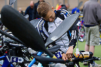 25 MAY 2014 - BRIGG, GBR - Steve Clark (GBR) of Great Britain prepares in transition for the start of the World Quadrathlon Federation 2014 Middle Distance World Championships at the Brigg Bomber in Brigg, Lincolnshire in Great Britain (PHOTO COPYRIGHT © 2014 NIGEL FARROW, ALL RIGHTS RESERVED)