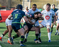 WASHINGTON, DC - FEBRUARY 16: Tendai Mtawara#1 of Old Gory DC blocks Mat Turner #15 of the Seattle Seawolves during a game between Seattle Seawolves and Old Glory DC at Cardinal Stadium on February 16, 2020 in Washington, DC.