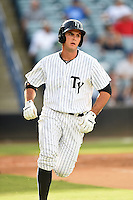 Tampa Yankees first baseman Greg Bird (33) runs to first during a game against the Dunedin Blue Jays on June 28, 2014 at George M. Steinbrenner Field in Tampa, Florida.  Tampa defeated Dunedin 5-2.  (Mike Janes/Four Seam Images)