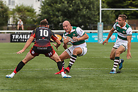 Lewis Jones of Ealing Trailfinders during the Friendly match between Ealing Trailfinders and Dragons  at Castle Bar , West Ealing , England  on 11 August 2018. Photo by David Horn / PRiME Media Images.