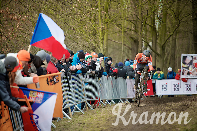 Mathieu Van der Poel (NLD) in the lead<br /> <br /> Elite Men's race<br /> <br /> 2015 UCI World Championships Cyclocross <br /> Tabor, Czech Republic