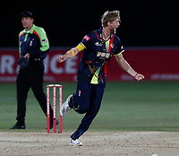 Calum Haggett celebrates after bowling Ryan ten Doeschate during the Vitality Blast T20 game between Kent Spitfires and Essex Eagles at the St Lawrence Ground, Canterbury, on Thu Aug 2, 2018