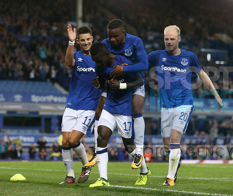 Idrissa Gueye of Everton (l) celebrates scoring the second goal during the Europa League Qualifying Play Offs 1st Leg match at Goodison Park Stadium, Liverpool. Picture date: August 17th 2017. Picture credit should read: David Klein/Sportimage