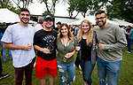 WATERBURY, CT-090818JS11--Davie Marino of Waterbury; Dillon Joyce of Waterbury, Courtney Ligi of Prospect; Meghan Rickard of Southington and Romney Tiru of Middlebury, at the 13th annual Brass City Brew &amp; 'Que brew festival and barbecue Saturday at Library Park in Waterbury. <br />  Jim Shannon Republican American