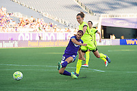 Orlando, Florida - Sunday, May 8, 2016: Orlando Pride forward Alex Morgan (13) takes a shot on goal during a National Women's Soccer League match between Orlando Pride and Seattle Reign FC at Camping World Stadium.