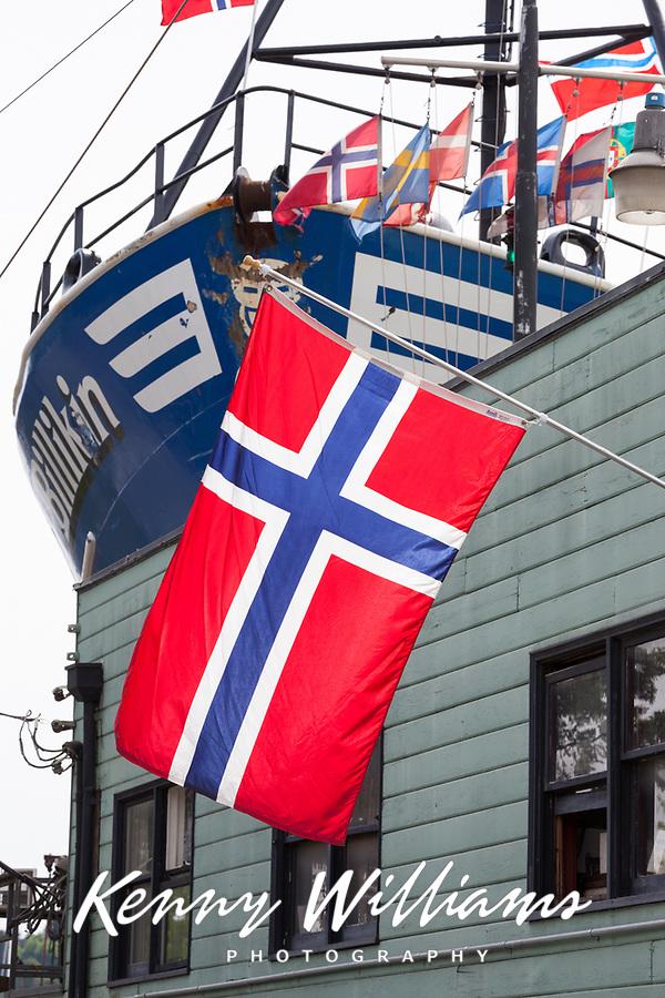 Norwegian Flag at Ballard Shipyard, Seattle, WA, USA.