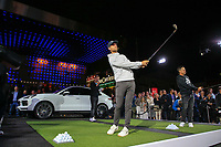 Lucas Bjerregaard (DEN) and Xander Schauffele (USA) at the Porsche Urban Golf Challenge in the Reeperbahn the famous Red light district in Hamburg ahead of the Porsche European Open at Green Eagles Golf Club, Luhdorf, Winsen, Germany. 03/09/2019.<br /> Picture Fran Caffrey / Golffile.ie<br /> <br /> All photo usage must carry mandatory copyright credit (© Golffile | Fran Caffrey)