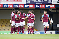 West Ham celebrate with goalscorer Ademipo Odubeko, West Ham U21's during Southend United vs West Ham United Under-21, EFL Trophy Football at Roots Hall on 8th September 2020