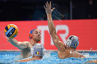 11 KOOPMAN Jesse Netherlands, 4 GHEORGHE Mihnea Andrei ROMANIA  <br /> Budapest 14/01/2020 Duna Arena <br /> ROMANIA (white caps) Vs. NETHERLANDS (blue caps) Men  <br /> XXXIV LEN European Water Polo Championships 2020<br /> Photo  © Andrea Staccioli / Deepbluemedia / Insidefoto