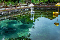 Bali, Gianyar, Tirtha Empul. Pura Tirtha Empul temple close to Tampaksiring. This is the holy springs where you can see the very clear water pouring from the ground (dark circles in the lower left part of the photo, you can also see a fish close by.